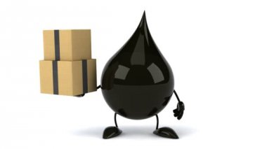 Black Oil drop with boxes — Wideo stockowe