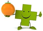 Pharmacy cross wit an orange — Stock Photo