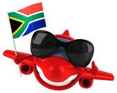 Fun cartoon plane with flag — Stock Photo