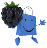 Cartoon Shopping bag with blackberry — Foto Stock