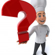Fun chef with question mark — Stock Photo #70291129