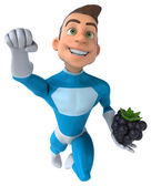 Fun superhero with blackberry — Stock Photo