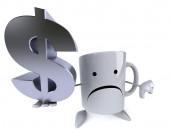 Taza con signo de dólar de la diversión — Foto de Stock