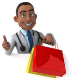 Fun doctor with shopping bags — ストック写真