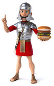Roman soldier with burger — Stock Photo