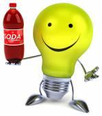 Fun light bulb with soda bottle — Stock Photo