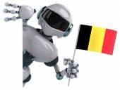 Fun robot with flag of Belgium — Stock Photo