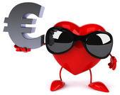 Kul hjärta med eurotecknet — Stockfoto