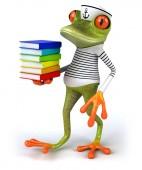 Fun frog with books — Fotografia Stock