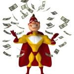 Fun superhero and money falling — Stock Photo #70983205