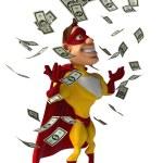 Fun superhero and money falling — Stock Photo #70983207