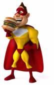 Superhero 3d with burger — Stock Photo