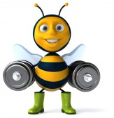 Fun bee with weights — Stock Photo