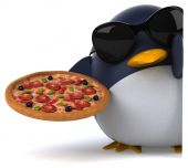 Fun penguin with pizza — Stock Photo