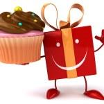 Fun gift with cupcake — Stock Photo #71593941