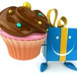 Fun gift with cupcake — Stock Photo #71593997