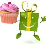 Fun gift with cupcake — Stock Photo #71594017