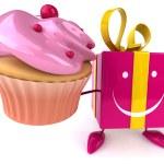 Fun gift with cupcake — Stock Photo #71594067