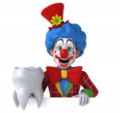 Fun clown with tooth — Stock Photo