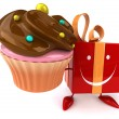 Fun cartoon gift with cupcake — Stock Photo #72656223