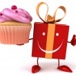 Fun cartoon gift with cupcake — Stock Photo #72656247