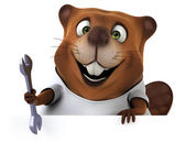 Fun cartoon Beaver with a white t shirt — Stock Photo