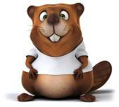 Fun cartoon Beaver with a white t shirt — Stock Photo