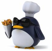 Fun penguin with french fries — Stock Photo