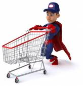 Super mechanic with shopping cart — Stock Photo