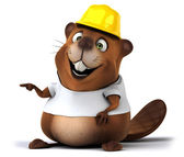 Beaver in white t shirt — Stock Photo