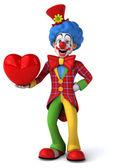 Fun cartoon clown with heart — Zdjęcie stockowe