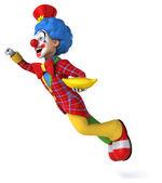 Fun cartoon clown with banana — Stock Photo