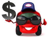 Fun car with dollar — Stock Photo