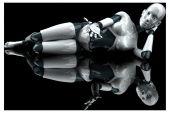 Robot femminili dei cartoni animati — Foto Stock