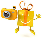 Fun cartoon gift with camera — Stock Photo