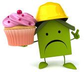 Fun cartoon house with cupcake — Stock Photo