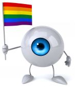 Fun cartoon eye with flag — Stock Photo