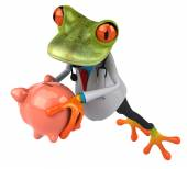 Fun frog with piggy bank — Stock Photo