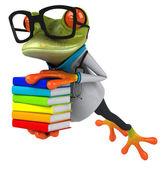 Rana divertida con libros — Foto de Stock