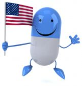 Fun cartoon pill with flag — Stock Photo
