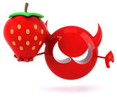 Fun cartoon Virus with strawberry — Stock Photo