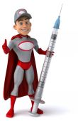 Super mechanic with syringe — Stock Photo