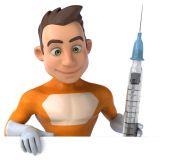 Fun superhero with syringe — Stock Photo