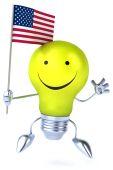 Cartoon light bulb with flag — Stock Photo
