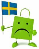 Cartoon Shopping bag with flag — Stock Photo