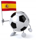 Cartoon Football ball with flag — Stock Photo