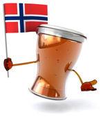 Fun cartoon beer with flag — Stock Photo