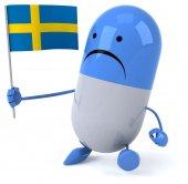Cartoon pill with flag — Stock Photo