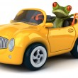 Fun frog in car — Stock Photo #76945155