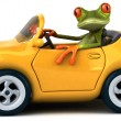 Fun frog in car — Stock Photo #76945133